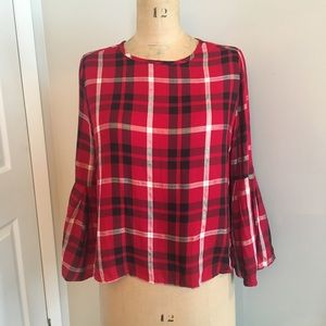 Design Lab checked blouse with shimmer detail